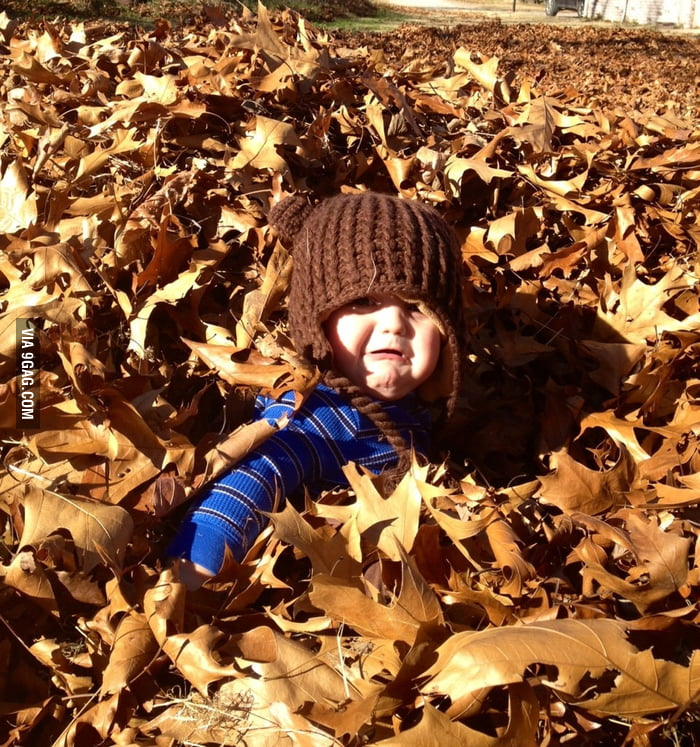 This kid is not a fan of leaves.