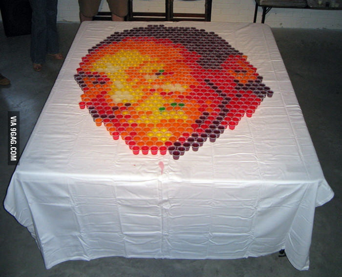 Bill Cosby portrait made out of JELL-O shots.