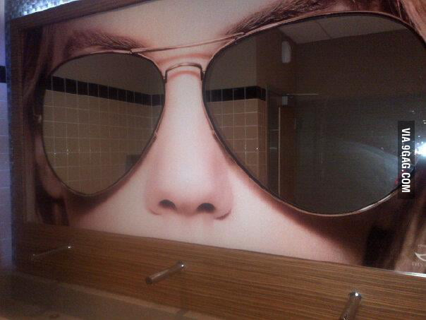 Saw these pretty cool sunglasses washroom mirrors today!