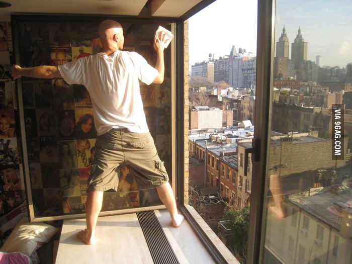 Cleaning windows like a boss.