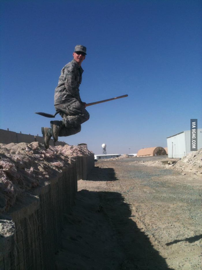 This soldier found a magic shovel!