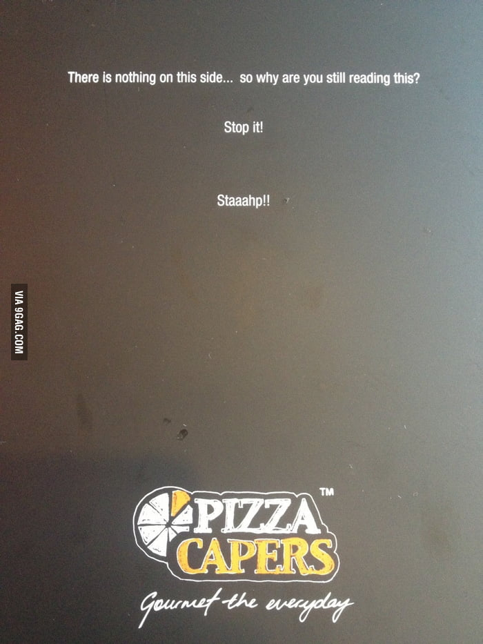 The back of a local pizza shop's menu