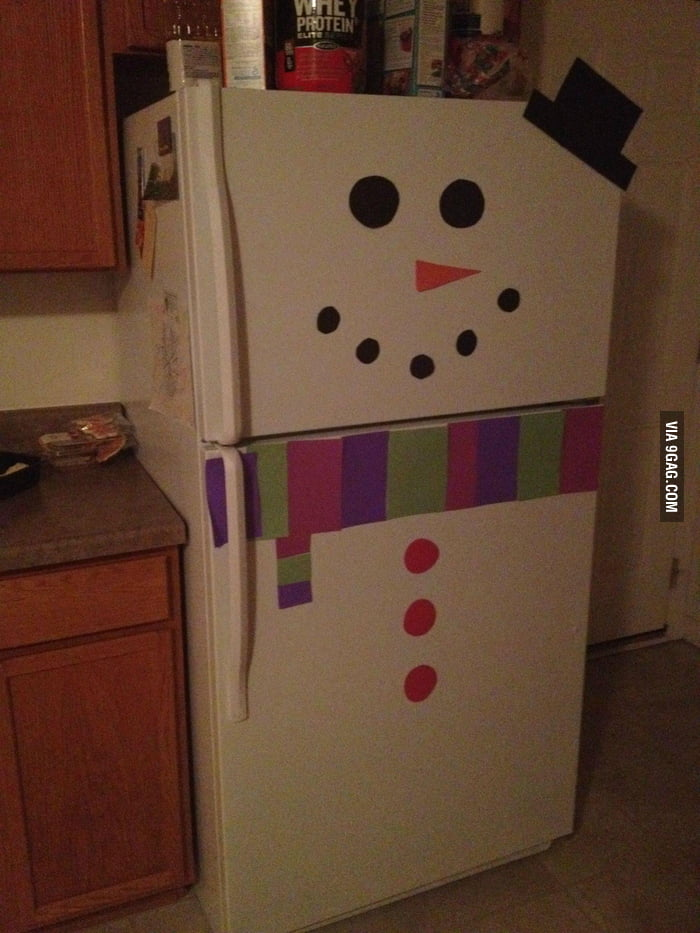 A cute snowman fridge.