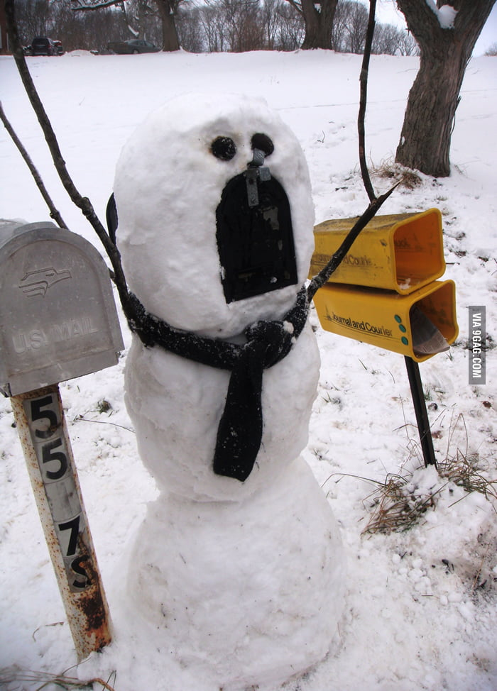 This snowman mailbox made my day!