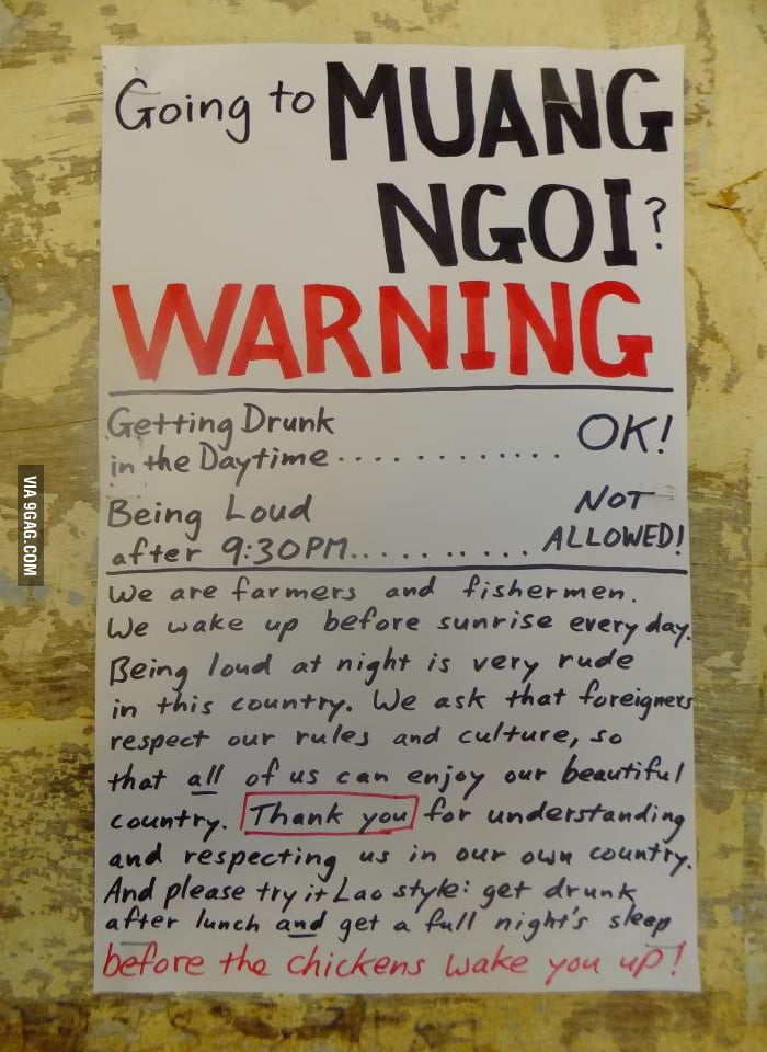Drinking Warning in Laos.