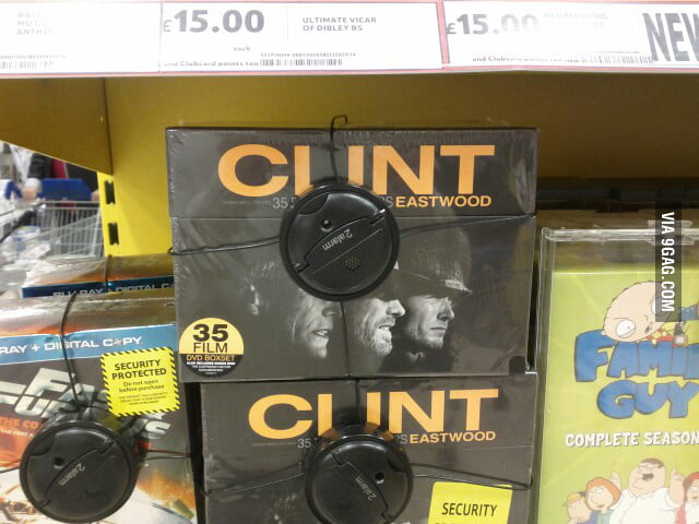 A terrible placement of anti-theft alarm for Clint Eastwood.