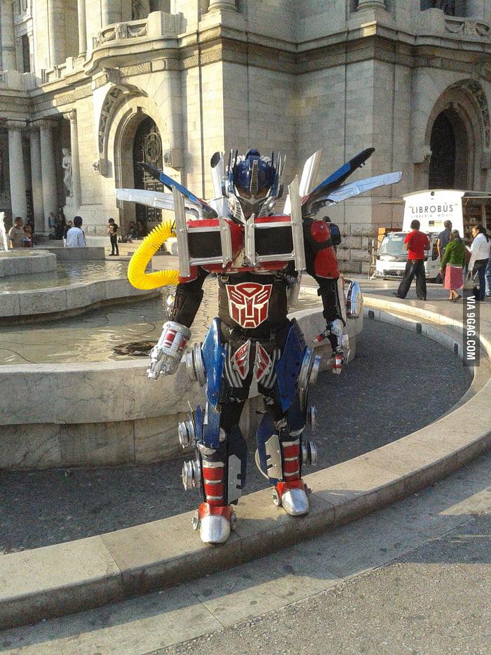 Cool Optimus Prime costume in Mexico