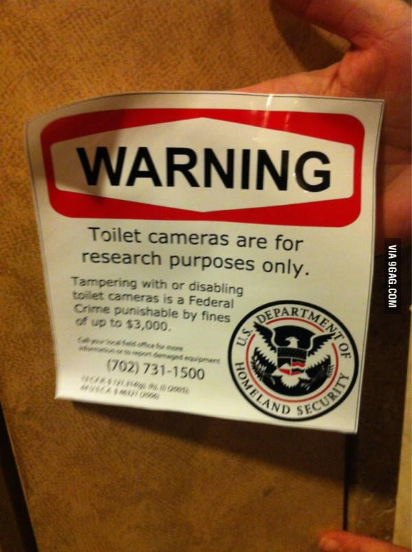 Toilet cameras are for research purposes only.