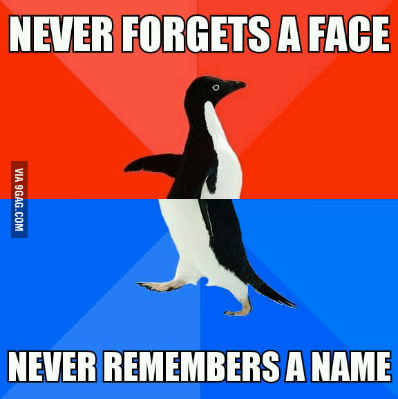 I just can't remember both the face and name.