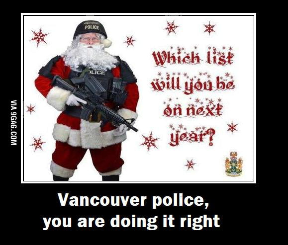 Xmas cards sent to criminals by Vancouver's police