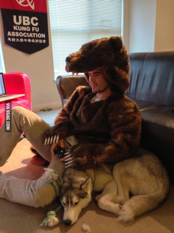 Playing TV games like a bear.