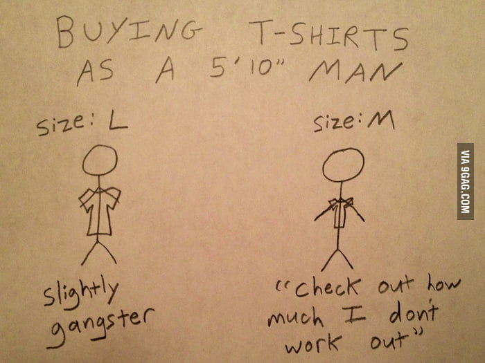 "Buying T-shirts as a 5'10"" Man"