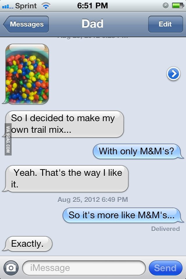 Dad decided to make his own trail mix.