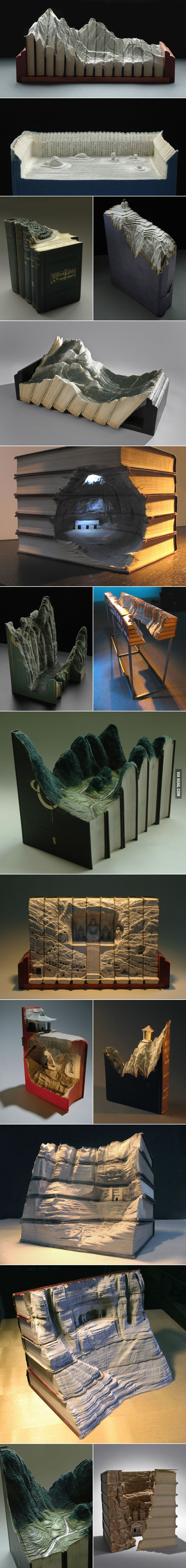 Amazing landscapes carved from books.