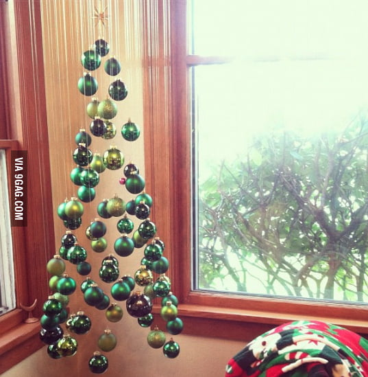 Simple yet awesome suspended Christmas tree.