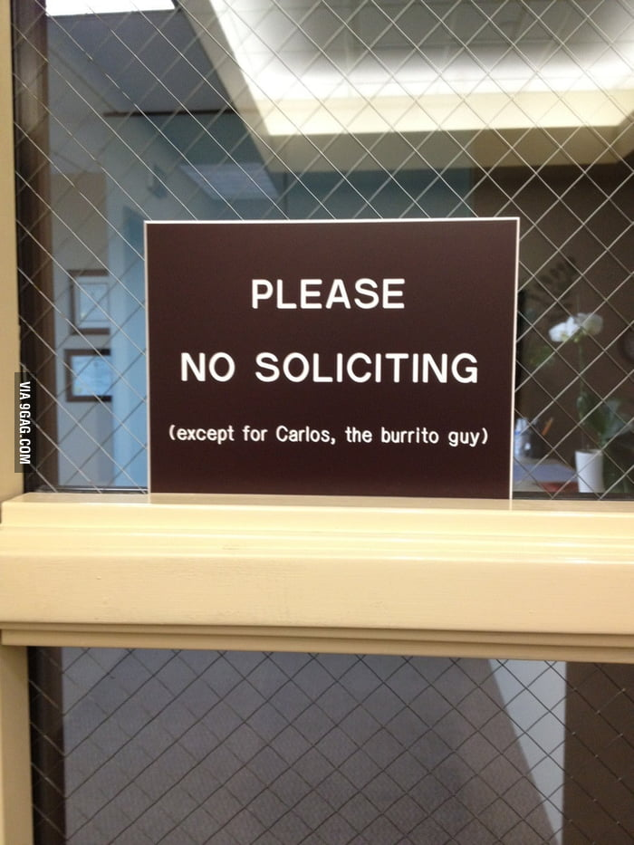 Please. No soliciting.