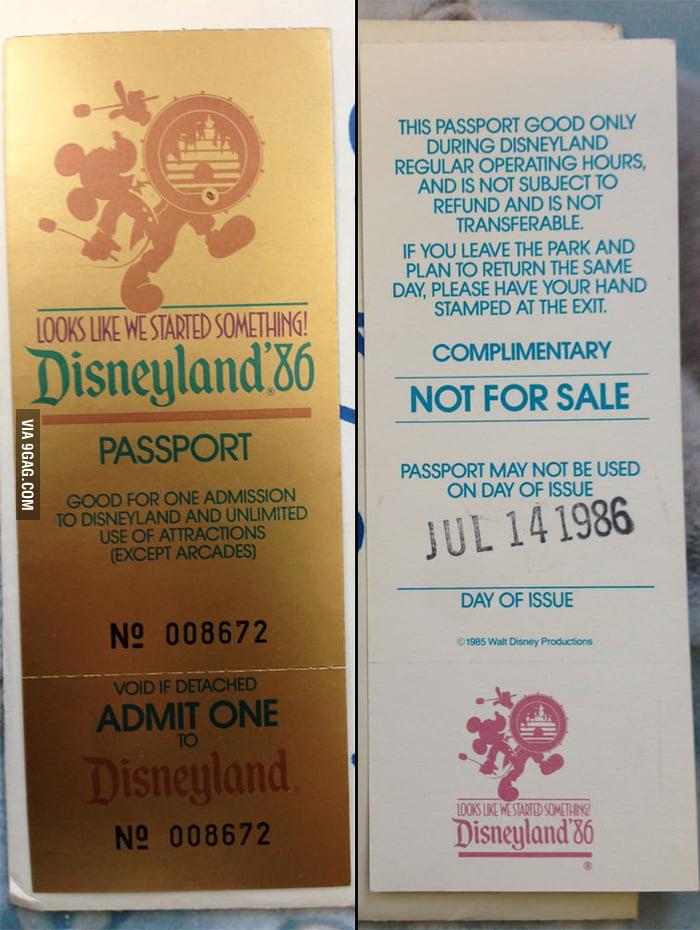 Disneyland Free Pass, 1986.