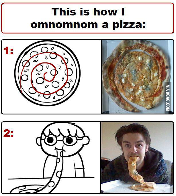 This is how I omnomnom a pizza.