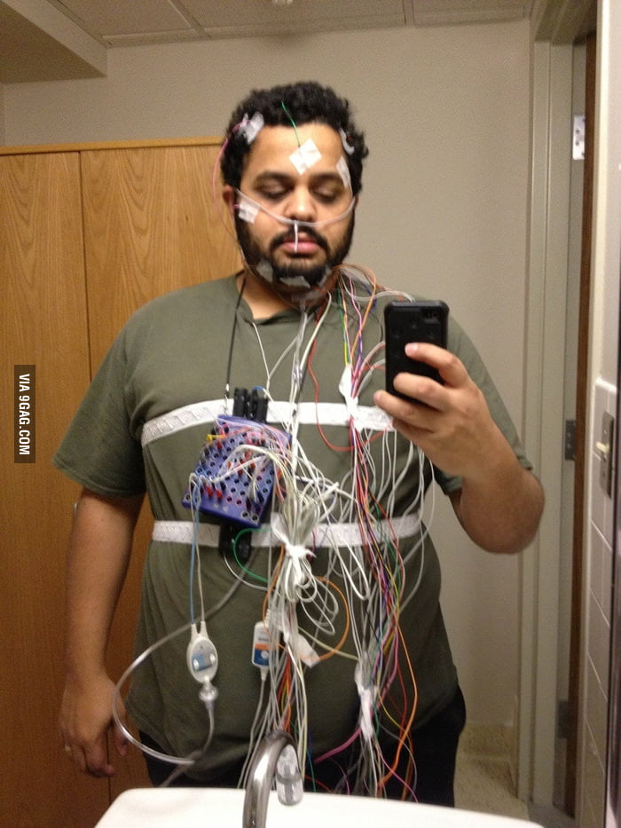 What you look like when you have a sleep study.