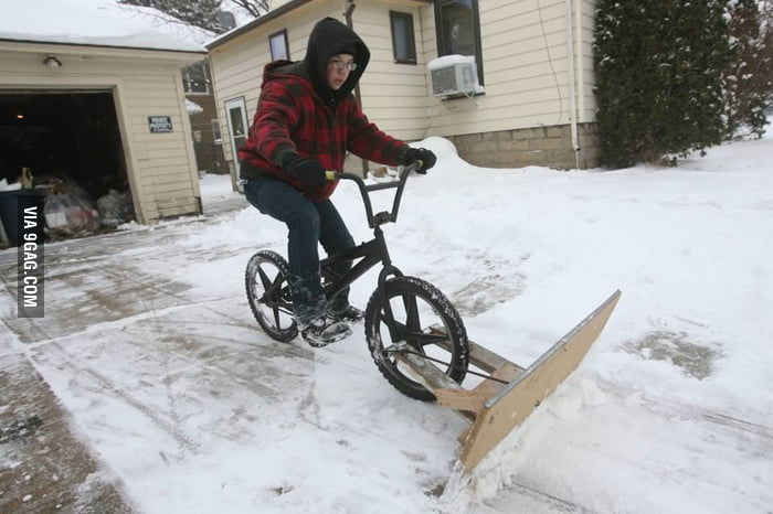 Homemade snowplow bike.