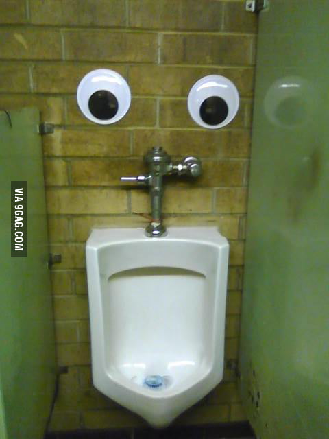 This guy watches me pee every time.