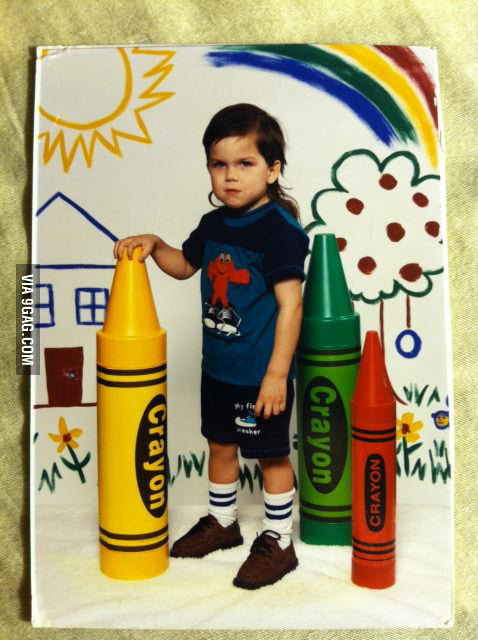He looked cool holding a crayon.