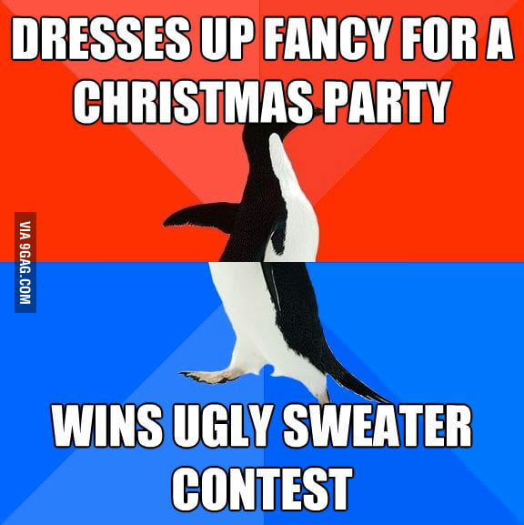 I dressed up fancy for a Christmas party last night.