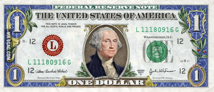 A colorized dollar bill.