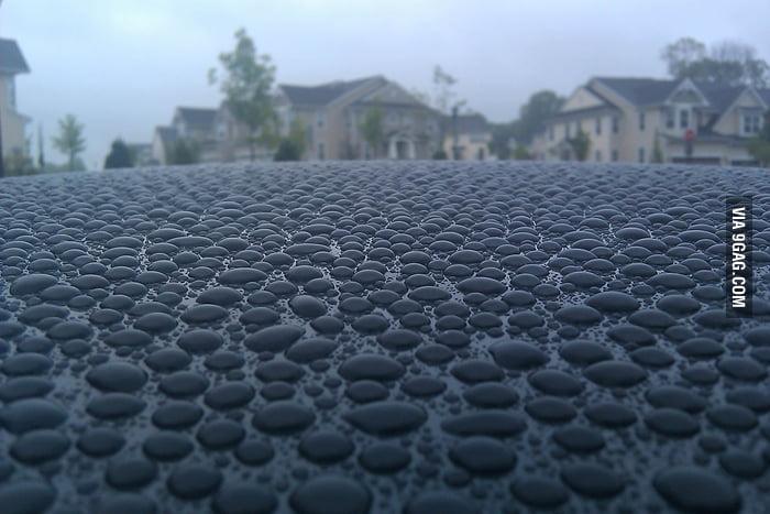Rain on a car.