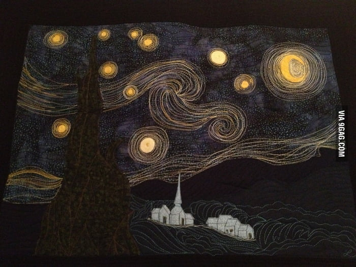 My neighbor sewed the Starry Night for Christmas.