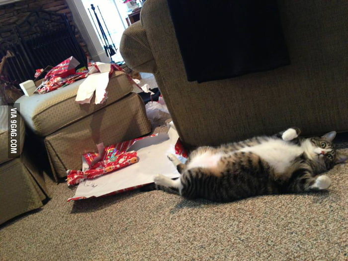 He ripped open all the presents Christmas morning.