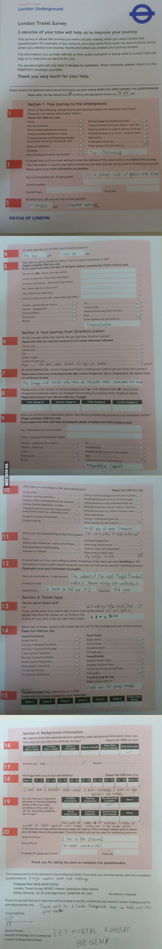 London Underground Questionnaire Mortal Kombat
