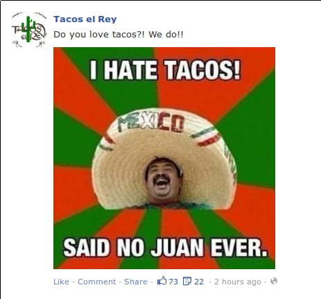 A local Mexican restaurant just posted this on its Facebook
