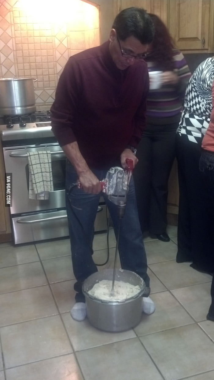 So my uncle wanted to help in the kitchen