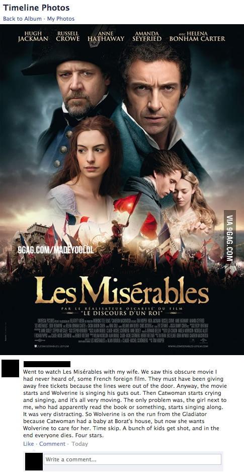 The best review of Les Misérables ever!