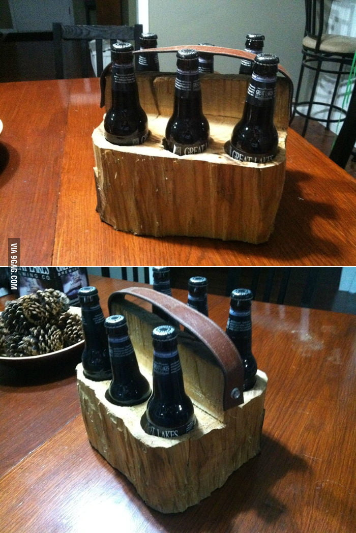 A home made wooden beer tote.