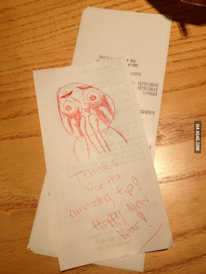 Guess the waiter appreciated the tip.
