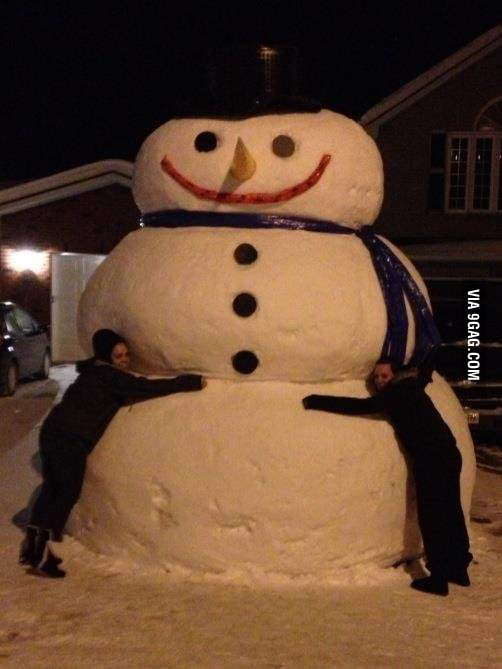 This snowman is pretty big!