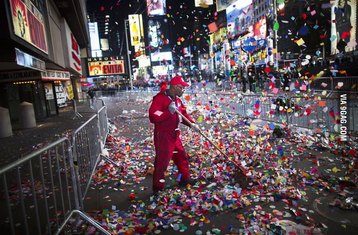 Cleaning up Times Square after New Year.