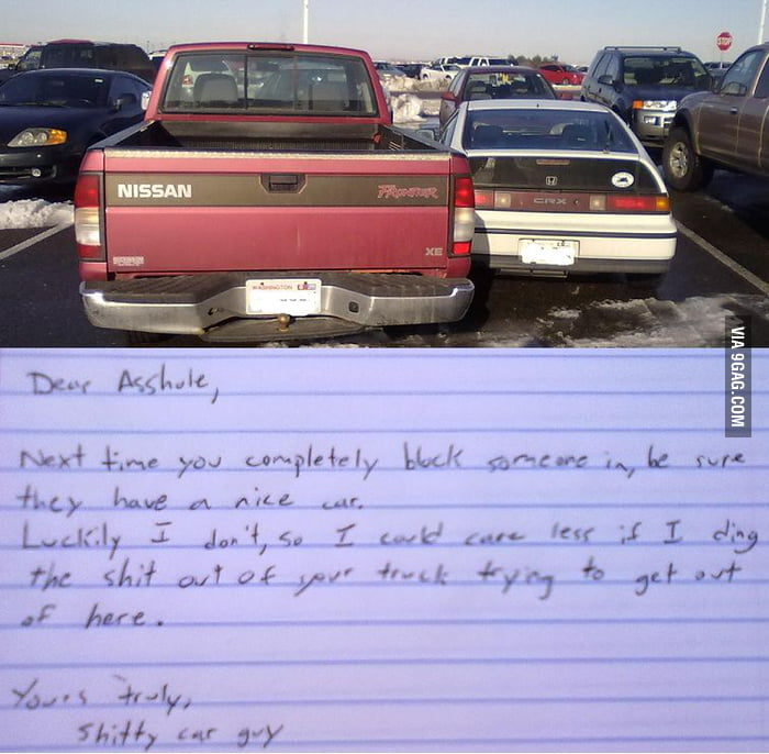 A note to an asshole from a shitty car guy.
