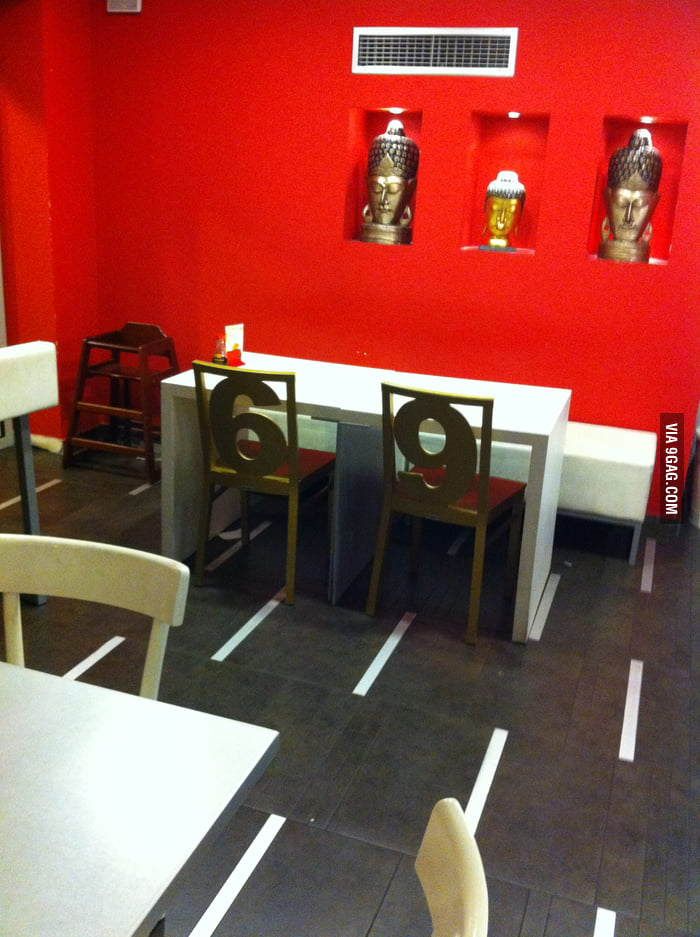 Someone got creative with the chairs on an asian food store.
