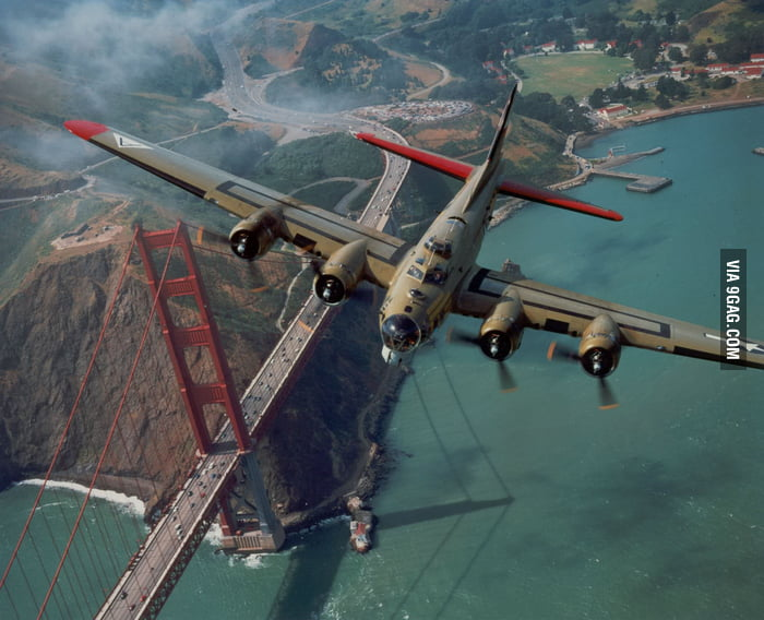 B-17 over the Golden Gate Bridge!