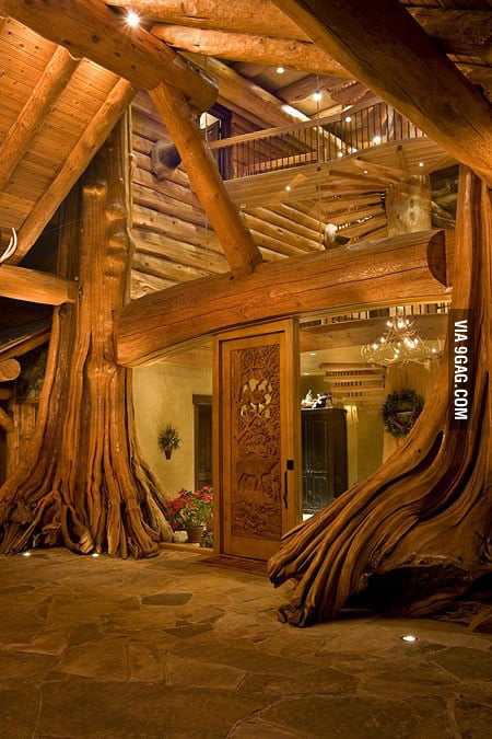 An amazing log cabin in British Columbia, Canada.