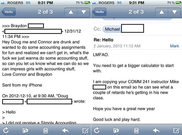 Lesson learned: Never drunk email your teacher!