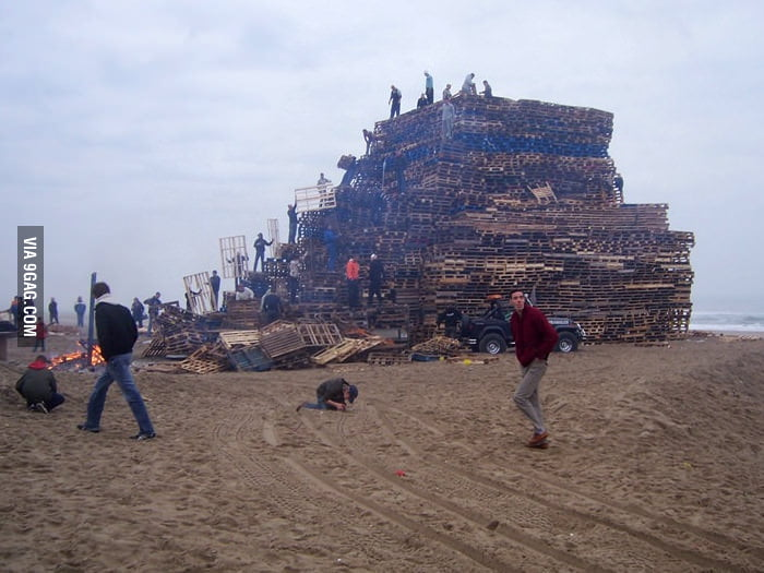 Setting up a bonfire.