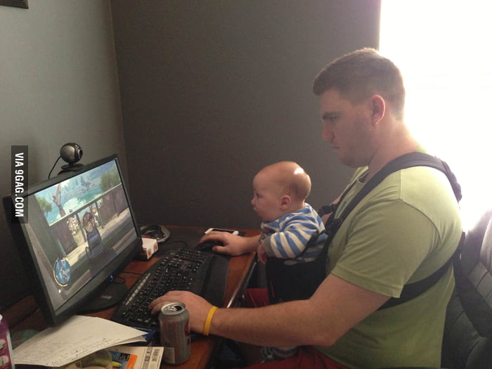 If you ask a gamer dad to watch the baby.