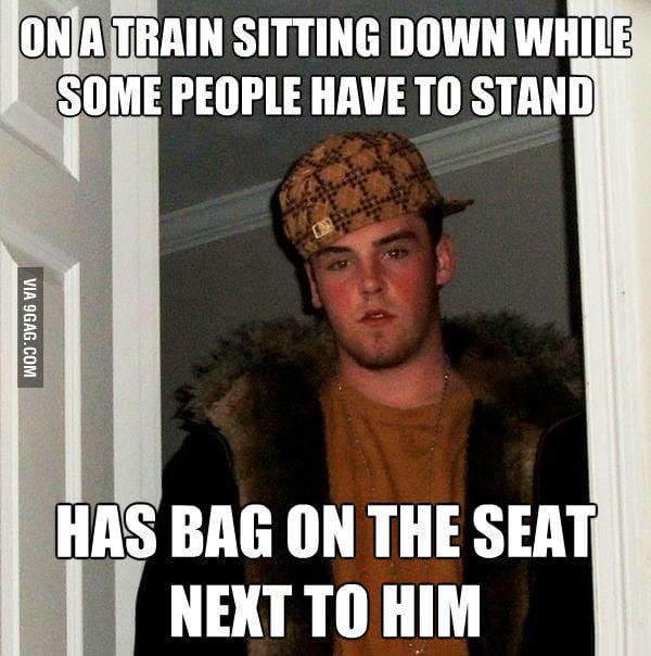 Scumbag Steve on the train.