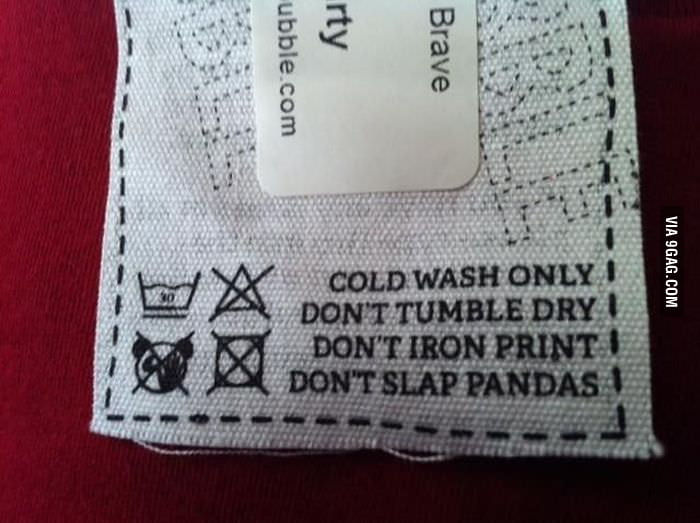 My new shirt arrived today and this was on the label.