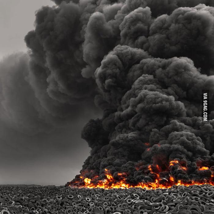 Tire fire in Kuwait.