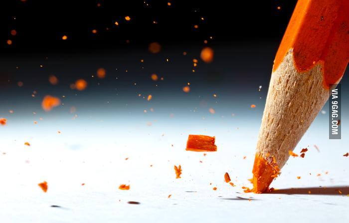 Shattering pencil tip... Macro